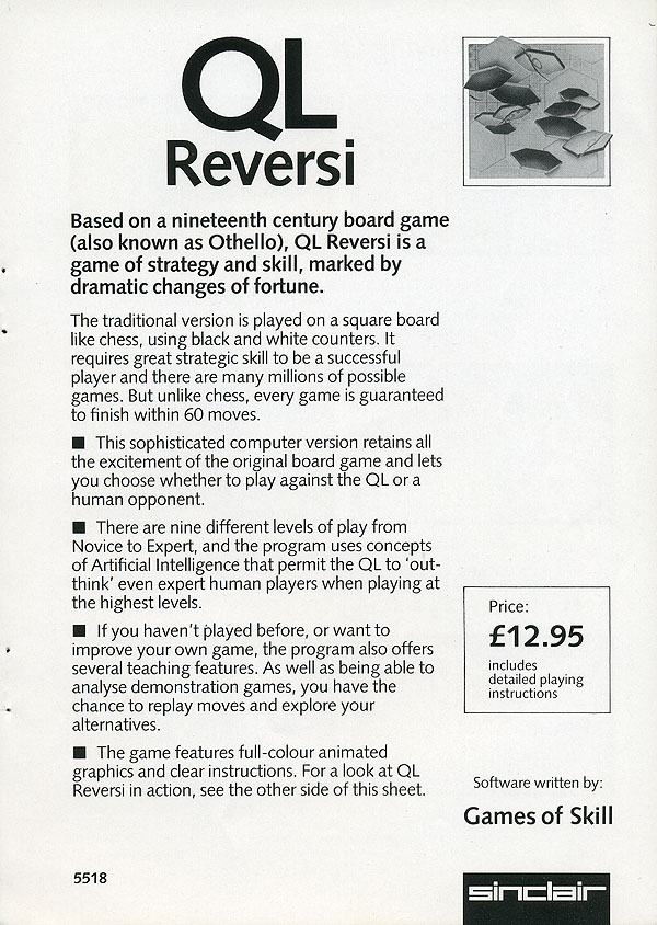QL Reversi Leaflet by Sinclair